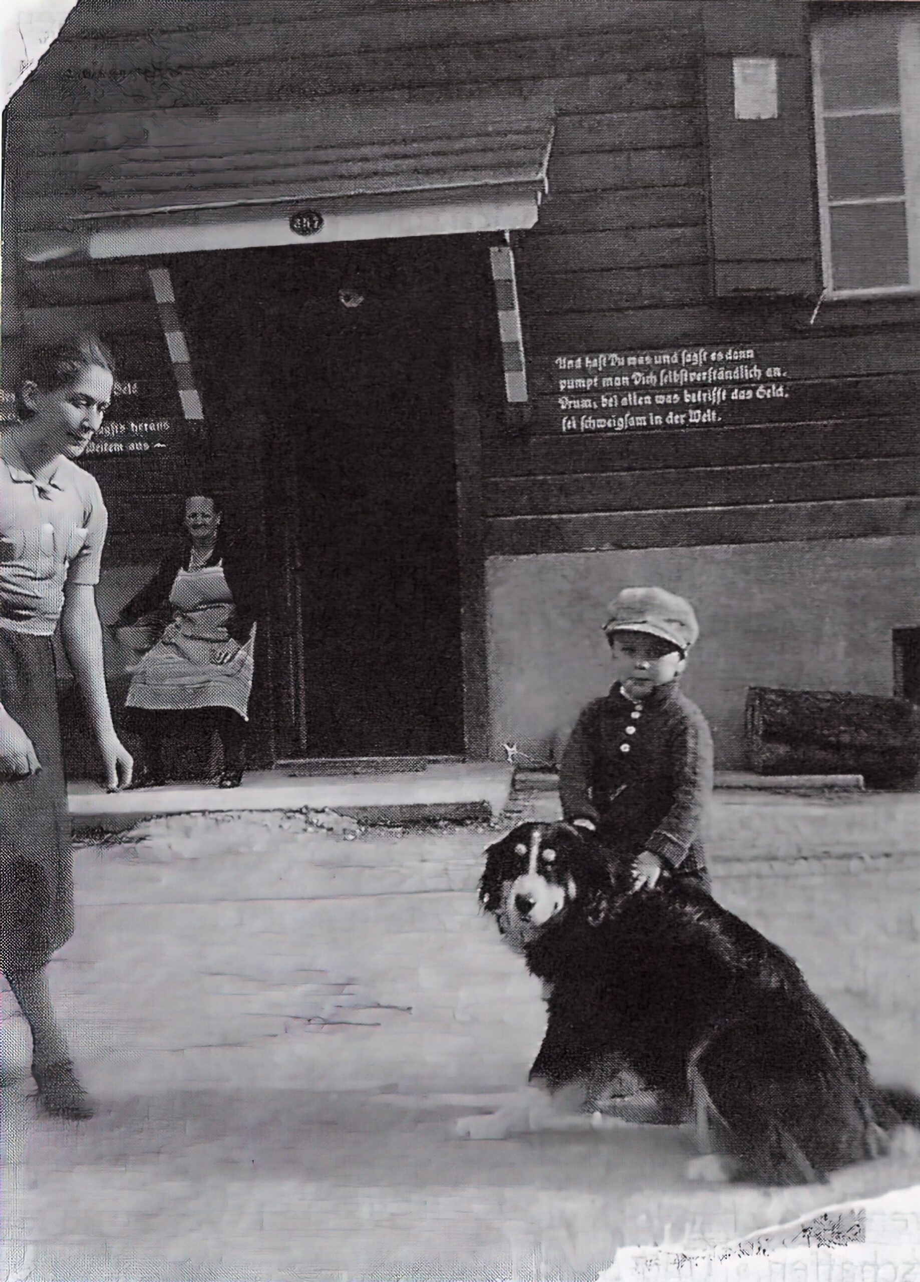Eduard Albert Meier, at about 4 years old, with Barry, the Bernese mountain dog of the family